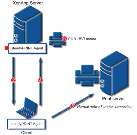 Connect Citrix UPD‐printer via steadyPRINT Agent